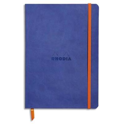 Carnet Rhodia Rhodiarama - couverture simili-cuir - 14,8 x 21 cm - 160 pages - lignées - saphir