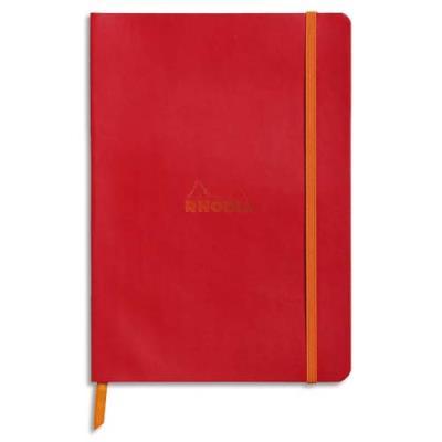 Carnet Rhodia Rhodiarama - couverture simili-cuir - 14,8 x 21 cm - 160 pages - lignées - coquelicot