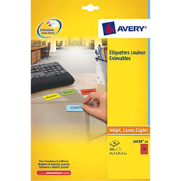 Etiquettes Avery L6038 - laser - 45.7 x 21.2 mm - rouge - boîte de 960 (photo)