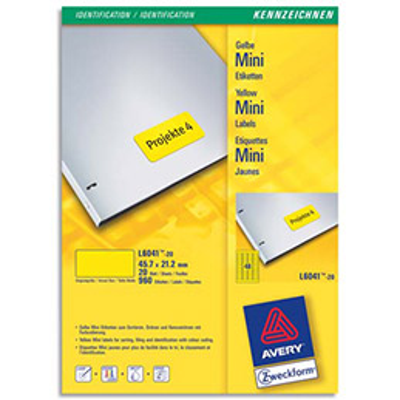Etiquettes Avery L6041 - laser - 45.7 x 21.2 mm - jaune - boîte de 960