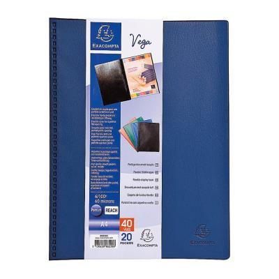 Porte-vue Exacompta Vega - format A4 - 20 pochettes - PVC - bleu