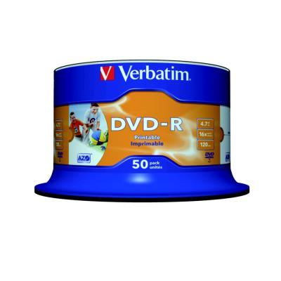 DVD-R vierge Verbatim Azo - 4 -7 Go / 120 min - transfert de données vitesse 16 x - paquet 50 unités