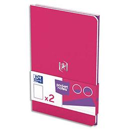 Carnet Oxford Pocket Notes agrafé - couverture carte - 9 x 14 cm - 48 pages - ligné 6 mm - fuschia et violet - lot de 2 (photo)
