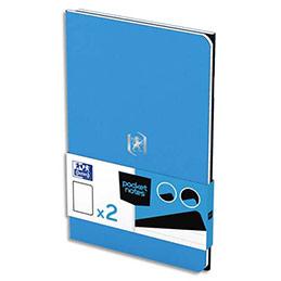 Carnet Oxford Pocket Notes agrafé - couverture carte - 9 x 14 cm - 48 pages - ligné 6 mm - bleu et noir - lot de 2