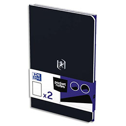 Carnet Oxford Pocket Notes agrafé - couverture carte - 9 x 14 cm - 48 pages - ligné 6 mm - bleu roy et noir - lot de 2 (photo)