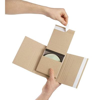 Étui emballage postal carton brun Raja - avec fermeture adhésive - 14 x 12,5 cm - 1 à 4 CD/jeux-vidéo (photo)