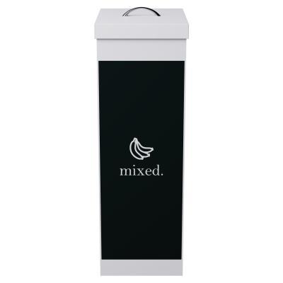 Corbeille de tri sélectif avec couvercle pour le recyclage des déchets mixes Paperflow - 60 litres - corps blanc - noir