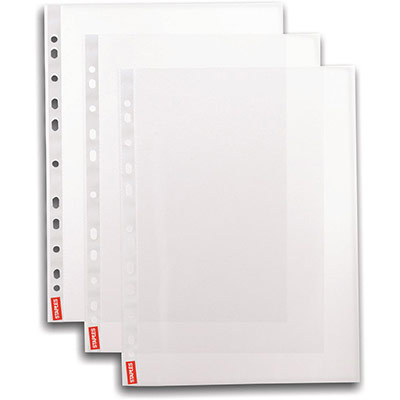 Pochettes perforées A4 - polypropylène lisse 5,5/100 - boîte de 100 (photo)