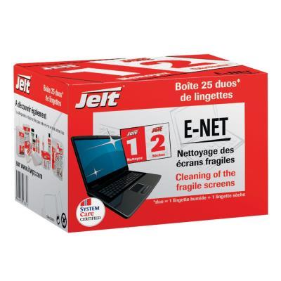 Boite de 25 lingettes Jelt humides/seches E-NET pour écran a cristaux liquides et portable (photo)