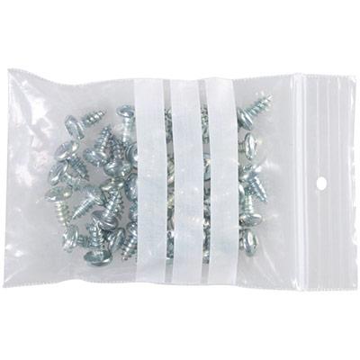 Sachet à fermeture Zip transparent 60 x 80 mm - bande d'écriture - épaisseur 50µ - carton de 1000 (photo)