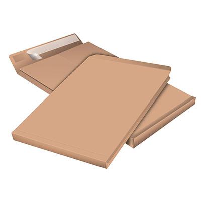 Pochette à soufflet 9 cm en kraft blond armé 280 x 410 mm 130g sans fenêtre - bande autoadhésive - paquet 50 unités (photo)