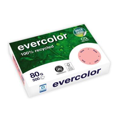 Papier couleur recyclé Evercolor - rose - 80 g - A4 - ramette de 500 feuilles