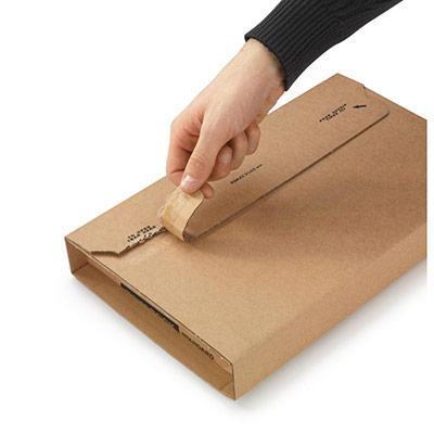 Étui emballage postal carton brun Raja - avec fermeture adhésive - Format A4 - 31 x 22 cm - cadre/tableau (photo)