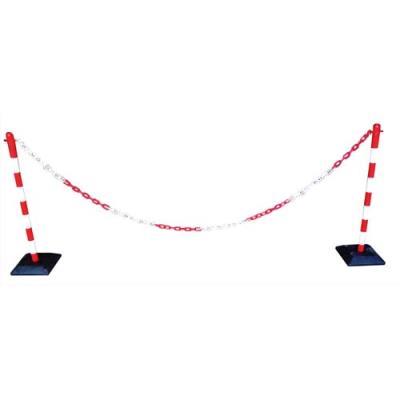 Kit poteaux chaine plastic rouge et blanc 30x100x30 cm (photo)