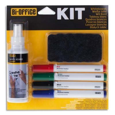 Kit marqueur Bi-Office avec feutres, brosse magnétique et spray nettoyant (photo)