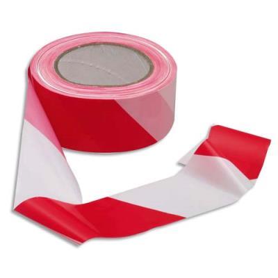 Ruban non adhésif rouge et blanc 100m x 5cm (photo)