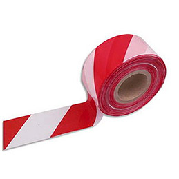 Ruban non adhésif indéchirable rouge et blanc 500m x 8cm (photo)