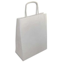 Sacs en papier kraft blanc - L24 x H31 x P12 cm - paquet de 250 (photo)
