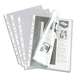 Pochettes perforées pour revues - PVC 20/100e - A4 - sachet de 10 (photo)