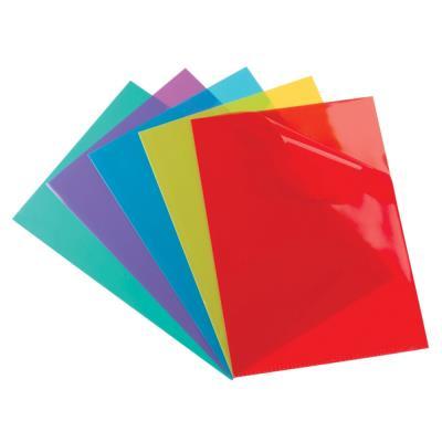 Pochette coin Elba - PVC 15/100e - format A4 - paquet de 100 - coloris assortis