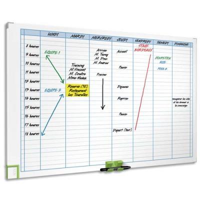 Planning magnétique effaçable Hebdomadaire Acco - 60 x 90 cm - 8 colonnes - 24 lignes (photo)