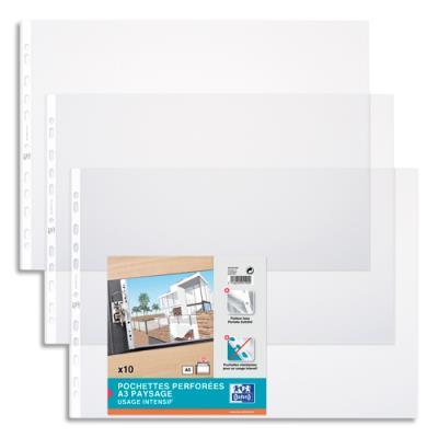 Pochettes perforées - format A3 à l'italienne en PVC 10/100e - perforation 9 trous - Sachet de 10 (photo)