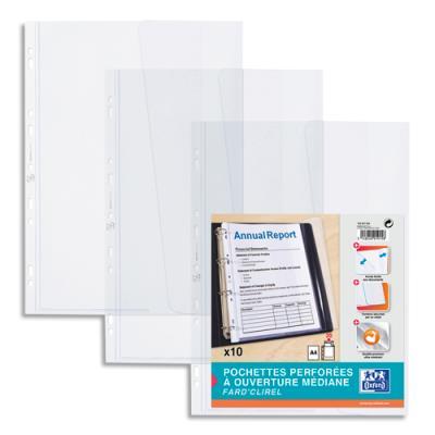 Pochettes perforées à ouverture médiane - PVC 18/100e - incolore - Sachet de 10 (photo)