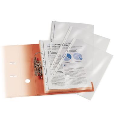 Pochette perforée lisse - A4 - polypropylène 90 microns - 11 trous - transparente avec bandes de couleur - sac 10 unités