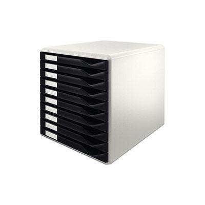 Bloc de classement Leitz à tiroirs 10 tiroirs noir (photo)