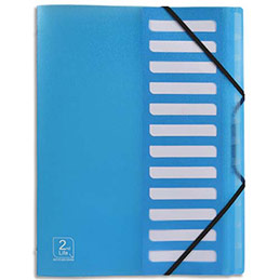 Trieur à élastiques Elba 2nd Life - 12 touches - polypropylène translucide 5/10e - bleu