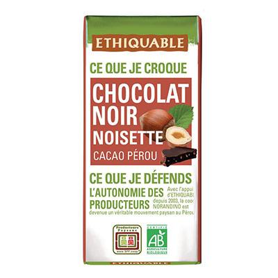 Mini tablette de chocolat noir aux éclats de noisettes - 30 g
