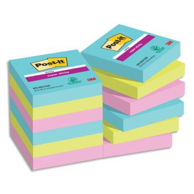 Post it super sticky collection miami 476 x 476 mm lot de 12 blocs de 90 feuilles