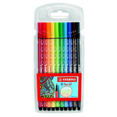 Etui chevalet 10 feutres de coloriage Stabilo Pen 68 - pointe moyenne - coloris assoris