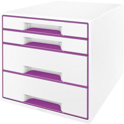 Casier de bureau Leitz WOW en polystyrène - 287 x 363 x 270 mm - blanc/violet (photo)