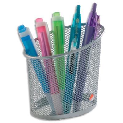 Pot crayons en metal argent ligne mesh achat pas cher for Achat fournitures de bureau en ligne