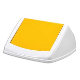 Couvercle basculant pour poubelle Durabin Square 40 blanc/jaune (photo)
