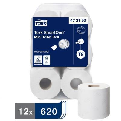 TORK Lot de 12 rouleaux Papier toilette Mini Advanced 2 plis 620 feuilles Ecolabel pour distrib SmartOne