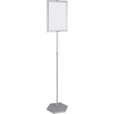 Support d'affichage sur pieds avec hauteur ajustable + cadre A4 à ouverture facile