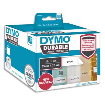 Etiquettes Dymo Labelwriter - durable - noir/blanc - 25 x 25 mm - rouleau de 1700