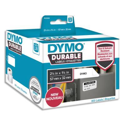 Etiquettes Dymo Labelwriter - durable - noir/blanc - 57 x 32 mm - rouleau de 800