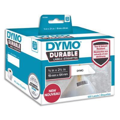 Etiquettes Dymo Labelwriter - durable - noir/blanc - 19 x 64 mm - rouleau de 900
