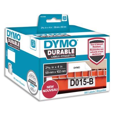 Etiquettes Dymo Labelwriter - durable - noir/blanc - 59 x 102 mm - rouleau de 300