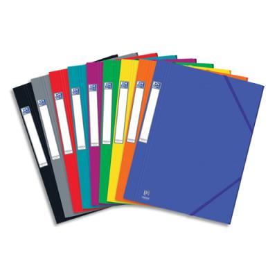 Chemise 3 rabats à élastiques Eurofolio Prestige - carte grainée 7/10 ème - format 24 x 32 cm - coloris assortis (photo)