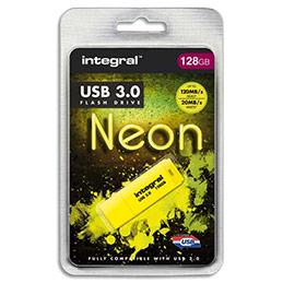 Clé USB 3.0 Integral Neon - 128 Go - jaune (photo)