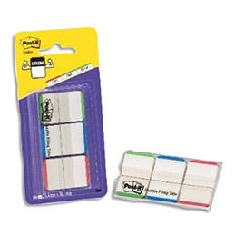 Carte de 3 x 22 Index Strong - 2.5 x 3.8 cm - corps transparent et liseret coloris assortis vifs (photo)