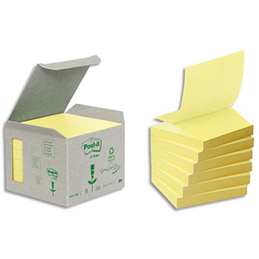 Notes repositionnables Znotes 100% recycl� - 76 x76 mm - 100 feuilles - coloris jaune - tour 6 blocs