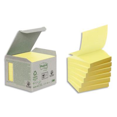 Notes repositionnables Znotes 100% recyclé - 76 x76 mm - 100 feuilles - coloris jaune - tour 6 blocs