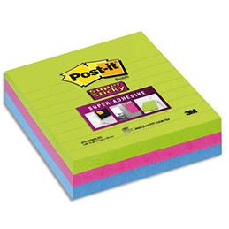 Notes Post-it Super Sticky lignées - grand format 10 x 10 cm - coloris néon assortis - lot de 3 blocs