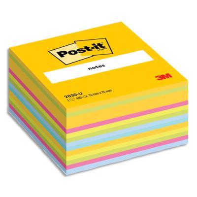 Bloc cube Post-It - 7,6 x 7,6 cm - 450 feuilles - jaune ultra/multi couleur (photo)