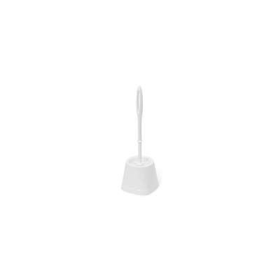 Brosse WC et sa base en plastique blanc (photo)